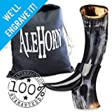 AleHorn Authentic Drinking Horn Curved Style with Stand - Polished Finish - 12 Inch- Viking Style Genuine Handcrafted Viking Beer Cup for Ale, Mead - Food Safe - Medieval Style Inspired Great Gift