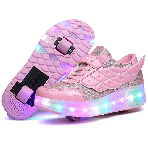Nsasy Roller Shoes Kids Roller Skates Shoes Girls Boys Single Wheels Shoes Become Sport Sneaker with Led Size 11.5
