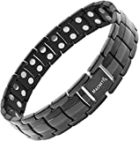 MagnetRX® Ultra Strength Magnetic Therapy Bracelet - Arthritis Pain Relief and Carpal Tunnel Magnetic Bracelets for Men - Adjustable Length with Sizing Tool (Black)