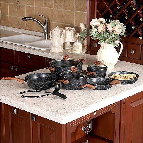 Kitchen Academy 12 Set di pentole antiaderenti rivestite in granito, nero, manico in bachelite con effetto legno (tocco morbido)
