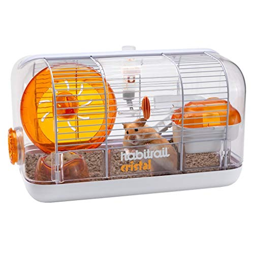 Habitrail Cristal Hamster Cage, Small Animal Habitat with Hamster Wheel, Water Bottle and Hideout, White