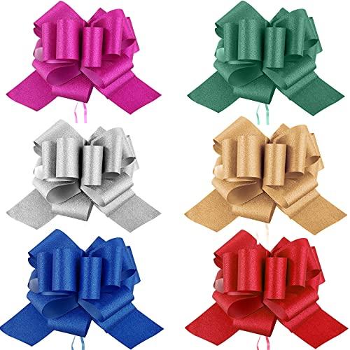 12 Lazos de Tirar Lazos de Envoltura Brillantes Coloridos Lazos de Tirar de Bricolaje para Navidad Cesta, 6 Pulgadas de Diámetro