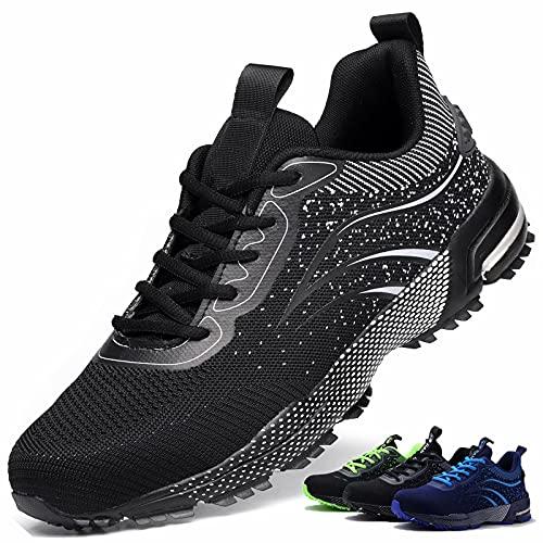 Zapatos de Seguridad S3 Hombre Mujer Calzado de Trabajo Comodo Ligeros con Punta de Acero Transpirable Anti-pinchazos Negro 41