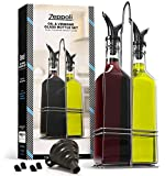 Zeppoli Oil and Vinegar Bottle Set with Stainless Steel Rack and Removable Cork  Dual Olive Oil Spout  Olive Oil Dispenser, 17oz Olive Oil Bottle and Vinegar Bottle Glass Set