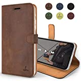 Apple iPhone Xs/iPhone X Case, Luxury Genuine Leather Wallet with Viewing Stand and Card Slots, Flip Cover Gift Boxed and Handmade in Europe by Snakehive for Apple iPhone Xs/X - Brown