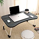 SARVAM EXPORT® ✓Foldable Laptop Table, Portable Laptop Bed Tray Table Folding Dormitory Table Notebook Stand Reading Holder Breakfast Serving Bed Tray with Tablet Slots