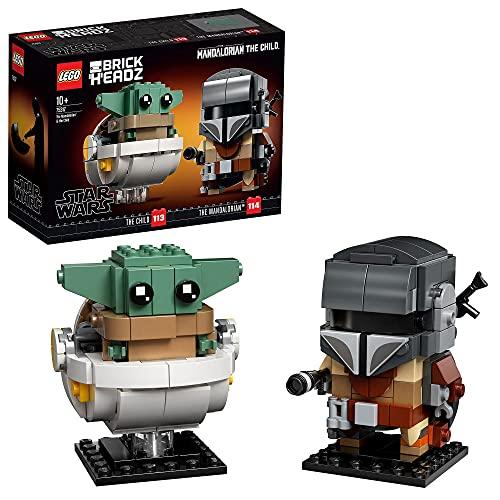 LEGO 75317 Star Wars Brick Headz El Mandaloriano y el Niño, Juguete de Construcción para Niños y...