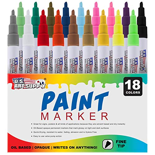 U.S. Art Supply 18 Color Set of Fine Point Tip