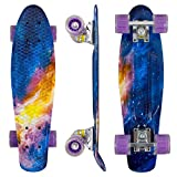 Geelife 22' Complete Mini Cruiser Skateboard for Beginners Youths Teens Girls Boys with LED Wheels (Stardust)