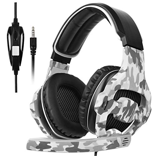 Gaming Headset for PS4, PC, Xbox One, Surround Sound Over-Ear Headphones with Noise Cancelling Mic, Soft Comfort Earmuffs for Laptop, Mac, Nintendo(Gray)