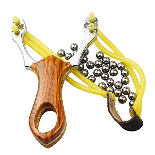 BESTZY Hohe Qualität Alloy Edelstahl Slingshot Outdoor Jagd Katapult Spielzeug Steinschleuder aus Stahl Sportschleuder mit Holzgriff Schleuder inkl .100 Stahlkugeln Munition