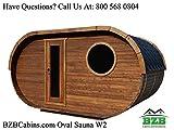 BZBCabins.com Oval Sauna Kit W2, 8 Person Outdoor Sauna with Harvia M3 Wood Burning Heater