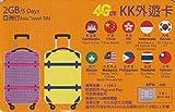 【KK】アジア 10ヶ国 4G-LTE/3G 5日間 2GB データ通信 SIMカード カンボジア 香港 インドネシア 中国 韓国 マカオ マレーシア フィリピン タイ 台湾 Asia Travel SIM Card 外遊カード