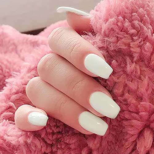 Brinote Glossy Press on Nails White Long Coffin Fake Nails Tips Full Cover Ballerina Acrylic False Nails for Women and Girls(24Pcs) (White)