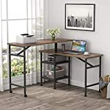Tribesigns L Shaped Rotating Standing Desk, Industrial 360 Degrees Free Rotating Corner Computer Desk with Storage Shelf, Reversible Rustic Office Desk with Wood Veneer Great for Home Office (Rustic)