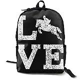 Mochila para mujer y hombre, mochila Boockbag casual senderismo Daypack Gran capacidad I Love caballo negro