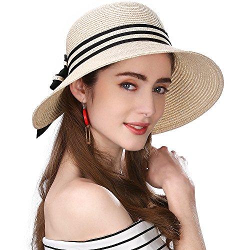 SIGGI beiger Stroh faltbarer UPF 50 + Sonnen Shade Strand Sonnenhut für Damen breite Krempe