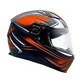 Typhoon Adult Full Face Motorcycle Helmet w/Drop Down Sun Shield DOT Certified - Same Day Shipping (Matte Orange, XX Large)