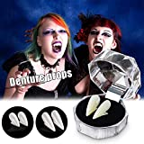 Vampire Teeth Fangs Dentures for Halloween Costume Cosplay Props Party Favors (13MM, Without Teether)