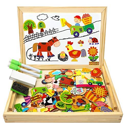 COOLJOY Puzzle Magnetico Legno, Giocattolo di Legno con Lavagna Double Face, Apprendimento Educativo Puzzle Bambini 3 Anni 4 Anni 5 Anni - Quasi 100 Pezzi - pu Attaccare sul Frigorifero (Fattoria)