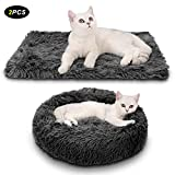 Legendog Lit pour chat, 2PC en peluche Donut gris chaud lit de chat rond nid...
