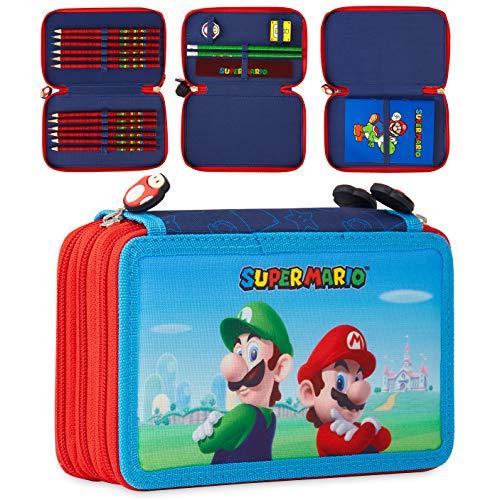 Super Mario Astuccio 3 Scomparti Con Matite Colorate, Gomma Da Cancellare, Agenda Super Mario, Matite, Righello E Temperino
