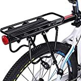 Enkrio Adjustable Bike Rear Cargo Rack Equipment Stand Footstock Bicycle Carrier Rack Bicycle Accessories Seat Post 110Lb Capacity (Black)