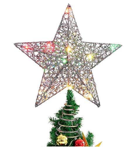 NUOBESTY Topper de árbol de Navidad Luces de Colores con Recubrimiento de Polvo de Bling luz de exhibición de Estrella de Copa de árbol - 25 x 30cm luz Colorida de Plata sin baterías