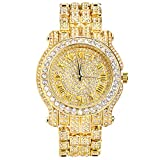 Men's Gold 45mm Iced Out Metal Band Watch, Analog Display w/Simulated Cubic Zirconia Crystals - Quartz Movement - Adjustable Band Size
