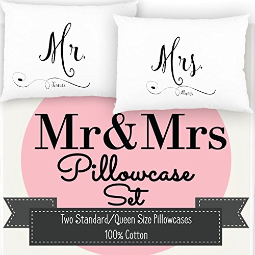 Ocean Drop Designs Mr and Mrs Pillowcase Set, Mr and Mrs...