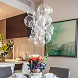 KTOL 20' Waterfall Bubble Chandelier,Bubble Light E26 Nordic Bubble Ball Rotating Ceiling Light Pendant Lighting Rod Fixtures for Living Dining Room Bedroom Bar-A 20x12inch