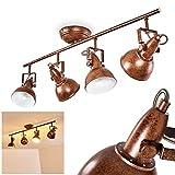 Plafonnier Tina en métal finitions rouille, luminaire de plafond à 4...
