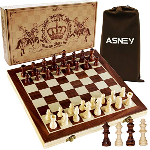 "ASNEY Upgraded Magnetic Chess Set, 15"" Tournament Staunton Wooden Chess Board Game Set with Crafted Chesspiece & Storage Slots for Kids Adult, Includes Extra Kings Queens & Carry Bag (Toy)"