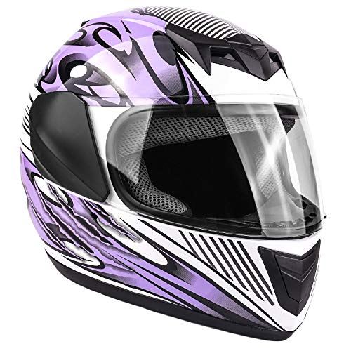 Typhoon Youth Full Face Motorcycle Helmet Kids DOT Street - Purple (Large)