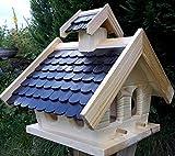 Naturholz-Schreinermeister Vogelhaus XL Vogelhäuser Vogelfutterhaus Vogelhäuschen aus Holz Wetterschutz Putzklappe (Schwarz)