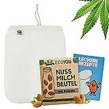 EcoYou Nussmilchbeutel Bio waschbar aus Hanf Veganer Nussmilch Beutel inkl. leckeren Rezepten Hochwertiges Passiertuch 30 cm nut Milk Bag, Mandelmilch Tuch, Filter-Beutel, Filtertuch Saft