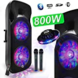 Enceinte Sono DJ PA Mobile Party Batterie Karaoké 2x15' 1000W USB/BT - FM RADIO...