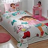 store_turco 100% Cotton Kids Dora in Garden Pique Bedding Duvet Cover Set Twin Size New Licensed/Dora Kids Pique Bedspread Bedding Set 3 PCS by DHL Express