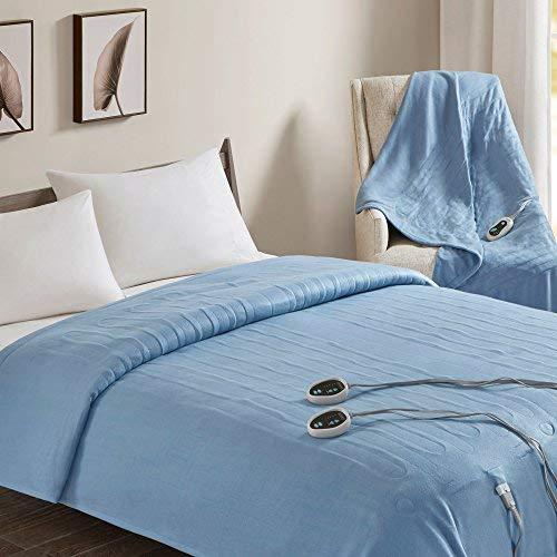 "Beautyrest - Heated Fleece Blanket and Throw Combo Set - Blue - Queen Size Blanket 84"" x 90"" + Throw 50"" x 60"" - with 3 Heat-Regulating Controllers"