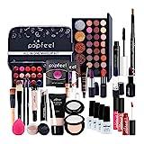 Heoolstranger - Maletín de maquillaje con 30 piezas rellenas con sombras de ojos, corrector, kit de maquillaje profesional, para mujeres y niñas