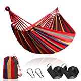 Anyoo Outdoor Cotton Hammock Multiples 210 x 150 cm, Load Capacity up to 200 kg Portable with Carrying Bag for Patio Yard Garden