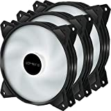 upHere Long Life 120mm 3-Pin High Airflow Quiet Edition White LED Case Fan for PC Cases, CPU Coolers, and Radiators 3-Pack,PF120WT3-3