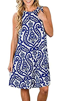 Fabric:Polyester,Spandex.soft,stretchy,comfortable,breathable, skin-friendly,comfy summer dress Feature:sleeveless,O-neck ,boho print, flower print,loose fit,above knee length,two side pocket,a line swing dress with pockets Style: sleeveless summer b...