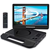 FANGOR 10.1' Portable Blu-Ray DVD Player with Rechargeable Battery, Support USB/SD Card, HDMI Out & AV in, Snyc Screen, 1080P Video, Dolby Audio, Last Memory(Black)