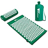 Amzdeal Kit Tapis d'Acupression 68x42cm, Tapis de Massage en Coton, Tapis de Yoga d' Acupuncture, Comprend Oreiller de Massage Portatifs 37x15x10cm et Sac de Transport, Soulagement et Détente-Vert