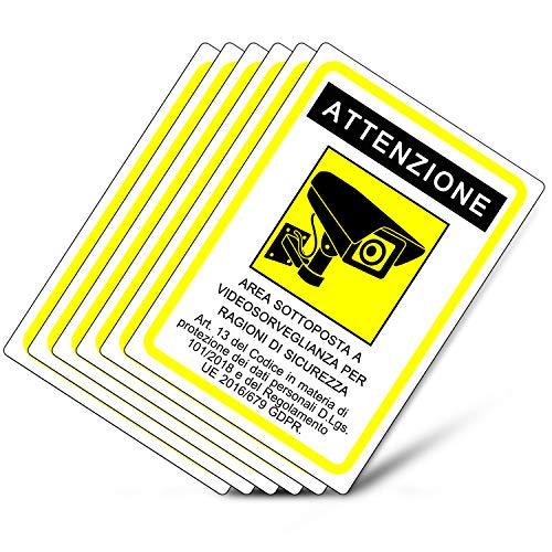 Rótulo adhesivo para zona de videovigilancia - GDPR 2020 - Pegatinas de videovigilancia para tiendas y propiedades privadas - Pegatina para zona de videovigilancia (14,8 x 10,5 cm) (6 piezas pegatinas de zona de videovigilancia)