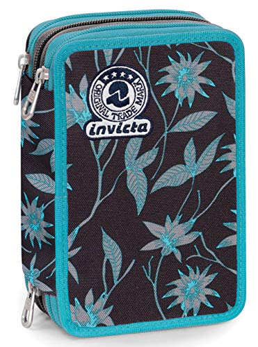 Astuccio 3 Zip Invicta Primerose, Nero, Con materiale scolastico: 18 pennarelli Giotto Turbo Color,...