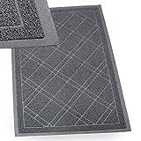IPRIMIO Bathroom Mat for Shower, Bath, Low Profile. Non Slip, Nursing Homes, Bathtub and Sink  35x23 Gray Plaid Design  Duraloop Anti Slip Durable Washable - Strong Dirt Absorbent Inside Floor Mat