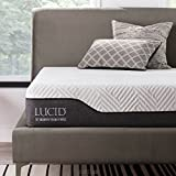 LUCID 10 Inch Twin XL Hybrid Mattress - Bamboo Charcoal and Aloe Vera Infused Memory Foam - Moisture Wicking - Odor Reducing - CertiPUR-US Certified