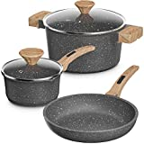 Lightning Deal Pots and Pans Set, Multilayer Granite Non-Stick Coating from Germany, Anti-Warp Stone Induction Cookware Set with Silicone Handles, Dishwasher Safe, APEO and PFOA Free, Marble,5Pcs